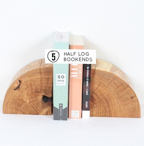 DIY half log bookends
