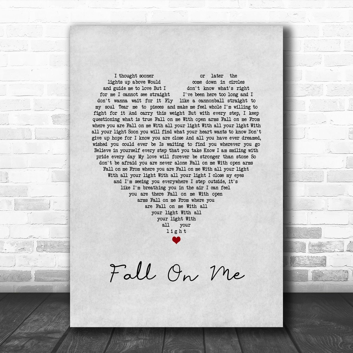 Andrea Bocelli Matteo Bocelli Fall On Me Grey Heart Song Lyric Music Poster Print In 2020 Lyric Prints Song Lyrics Art Wall Art Quotes