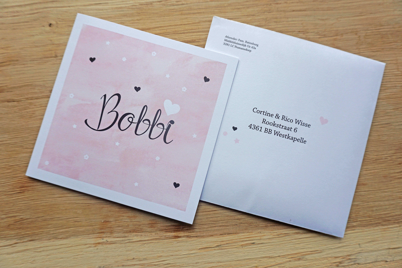 Geboortekaartje Bobbi   Ontwerp door Cortine Design   www.cortinedesign.nl   #cortinedesign #geboortekaart #geboortekaartje #roze #pink #meisje #birthannouncement #babygirl #girl #ontwerp