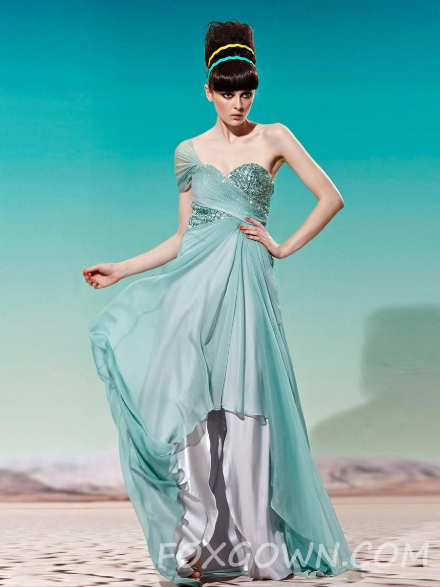 green one cap sleeve high-low prom dress with sweetheart neckline ...