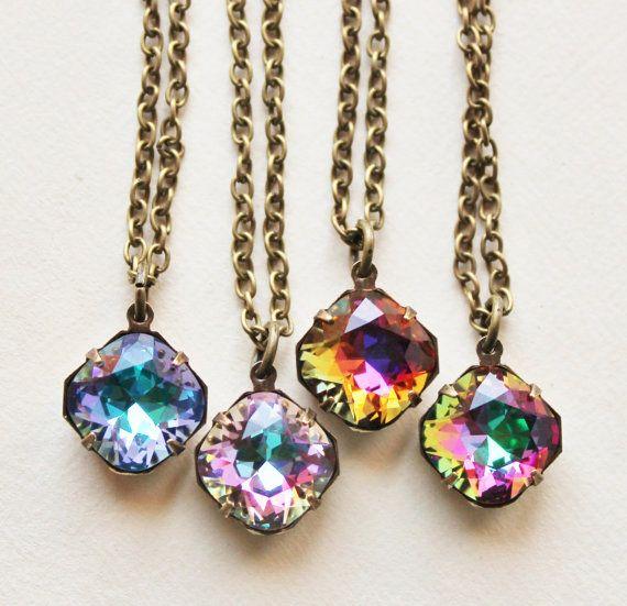 Swarovski Pendant NecklaceCHOOSE Your Color by hangingbyathread1