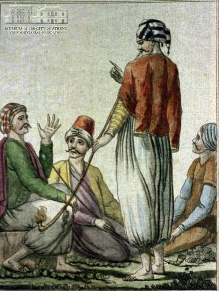 LABROUSSE (painter) & JACQUES GRASSET SE SAINT SAUVEUR (1757-1810) (engraver) Men from Chios island in local attire 1788, coloured etching, 21 x 14.5 cm