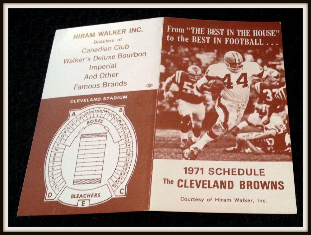 1971 CLEVELAND BROWNS HIRAM WALKER FOOTBALL POCKET