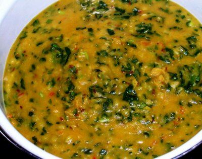 Lasooni Dal Palak ( Garlicy lentils with spinach ). Because I always need more Poor People Eating Lentils recipes.
