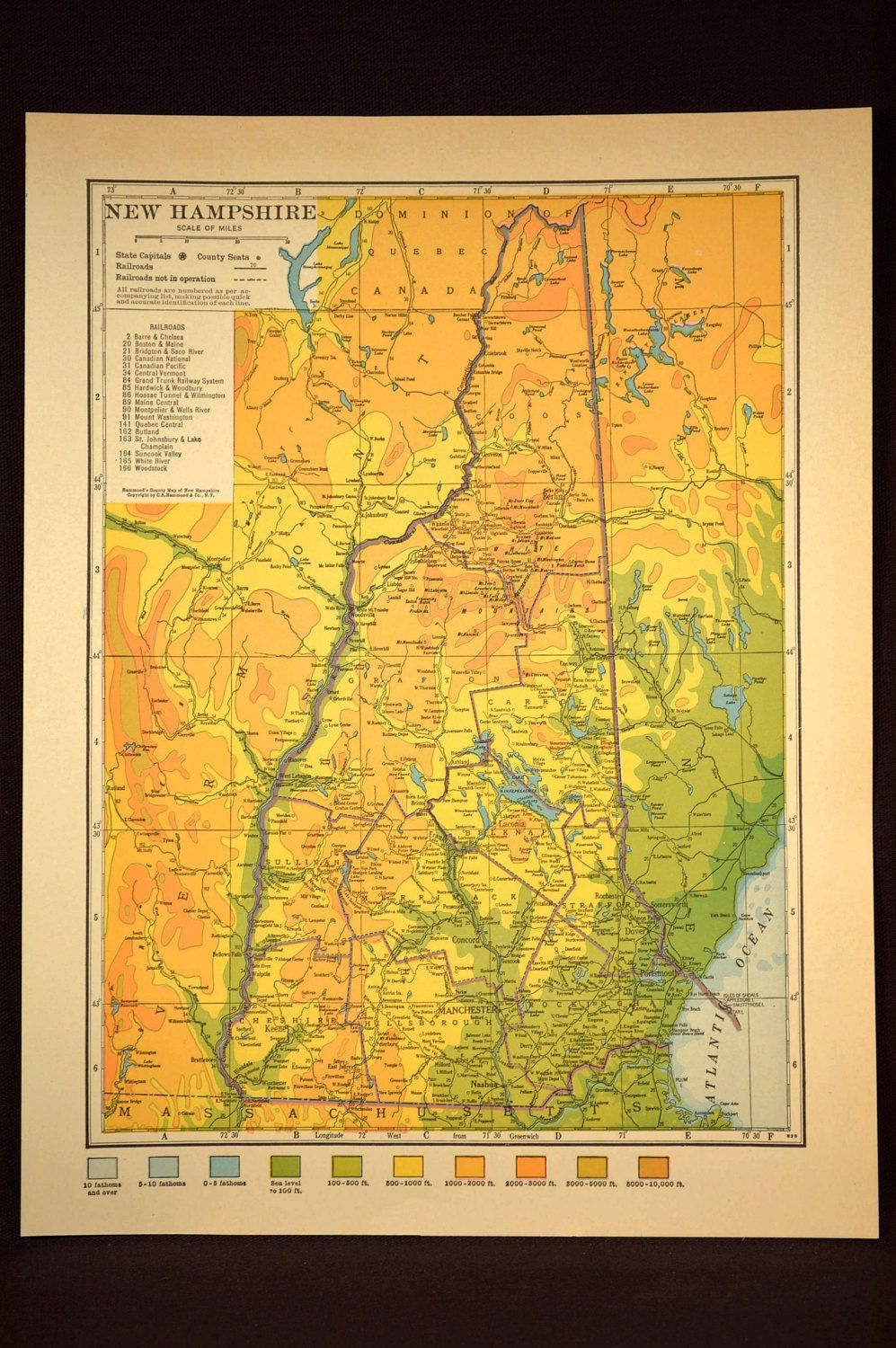 New Hampshire Map New Hampshire Topographic Map Colorful Colored ...