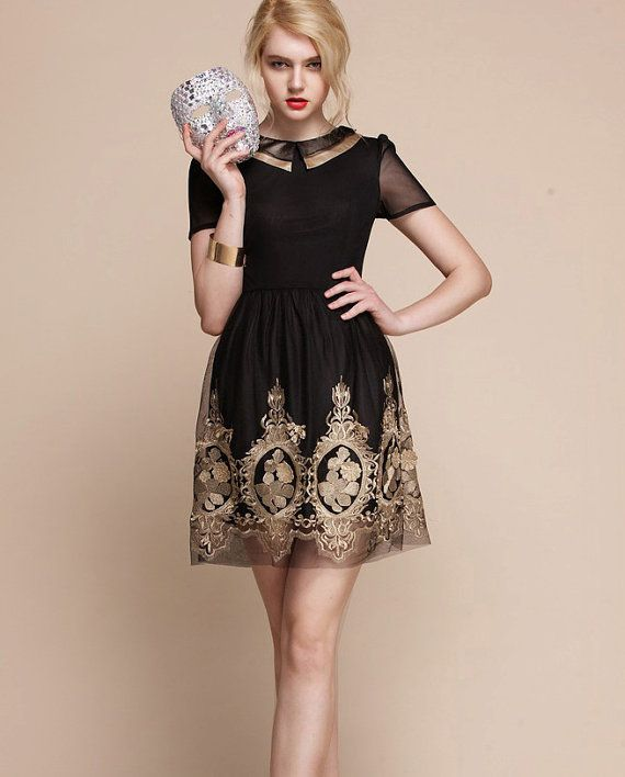 Baroque Royal Gold Embroidery Dress Black Folk Russian Theme