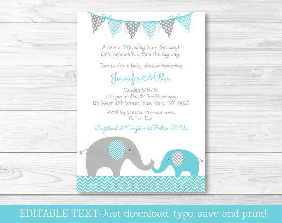 Elephant Baby Shower Invitation / Elephant by LittlePrintsParties