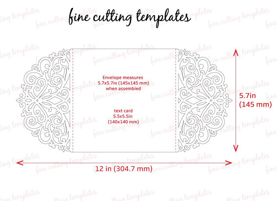 Wedding Invitation card template for cutting, laser and die cut