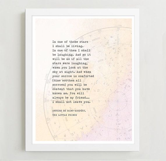 Roald dahl quote with glittering eyes quote inspirational saying le petit prince quote wall art poetry print star map poster art typography fandeluxe Choice Image