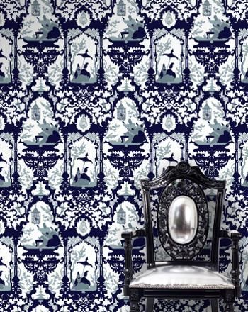 La Cage, MIdnight on White Mylar - French American Wallpaper - Designers