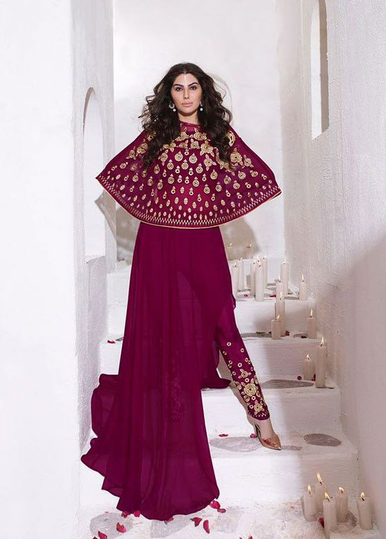 53a84440840b Ravishing Raspberry Pink Suit with Capelet