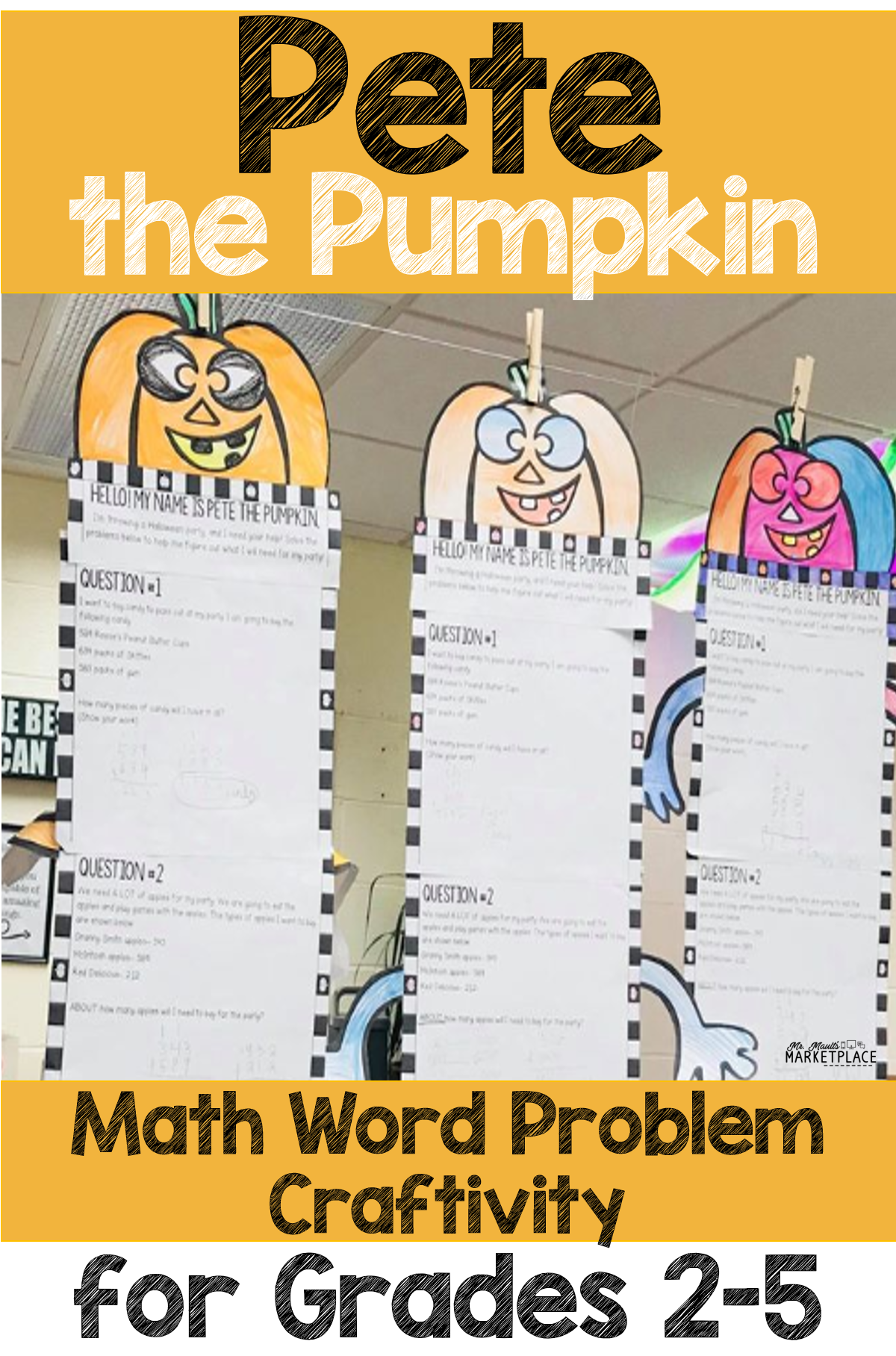 Halloween Math Craftivity Multi Step Word Problem