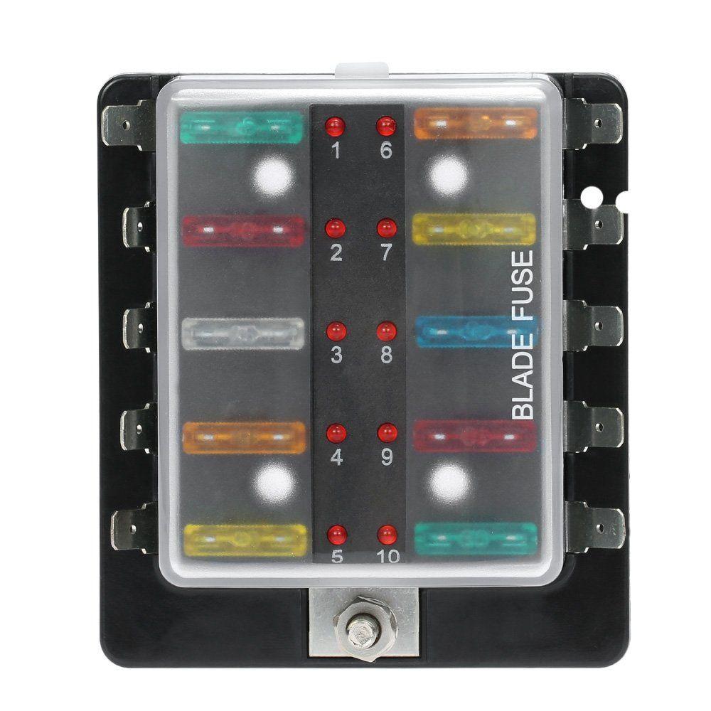 kkmoon dc 12v 10 way blade fuse box holder with led warning light kit for car [ 1000 x 1000 Pixel ]