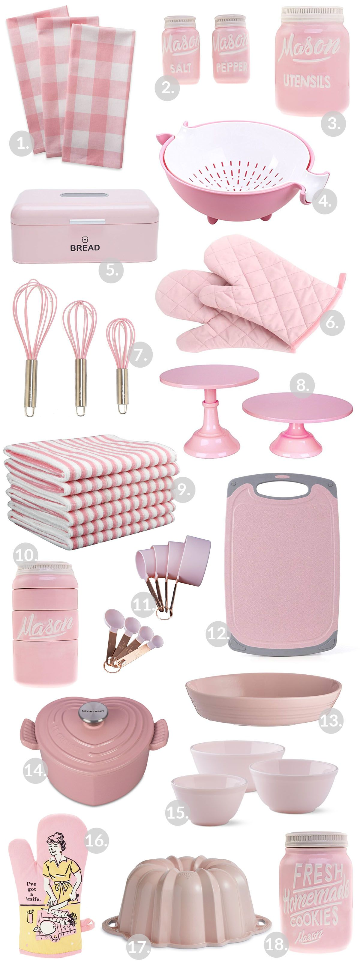 Pink kitchen gadgets and appliances! The perfect pink pops of color for a kitchen!…