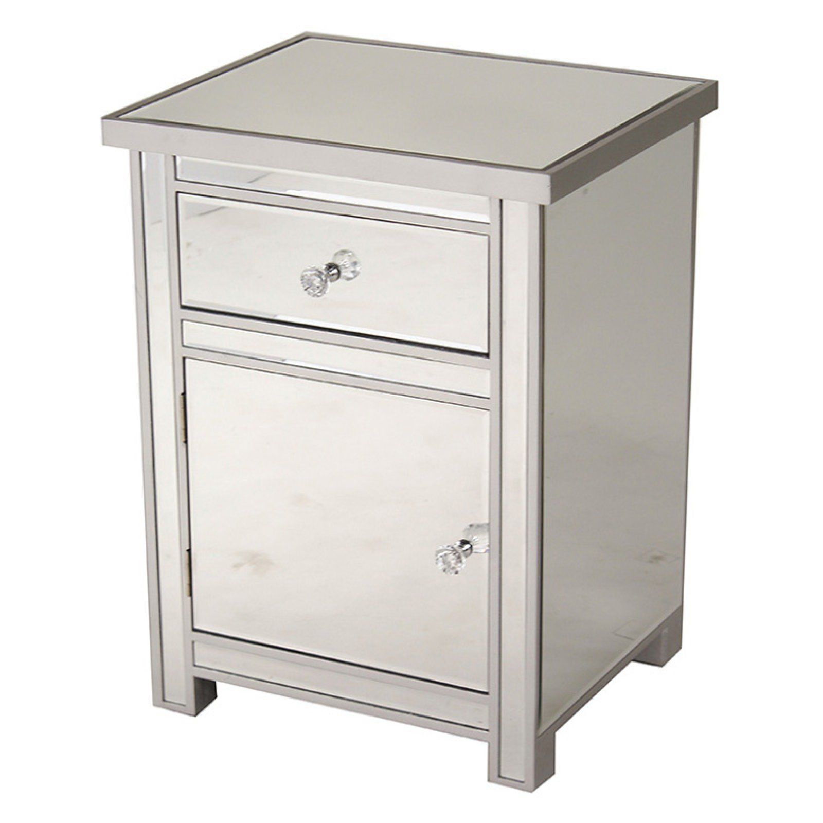 save off c5433 38b6f Heather Ann Creations Emmy Small 1 Drawer 1 Door Mirrored ...