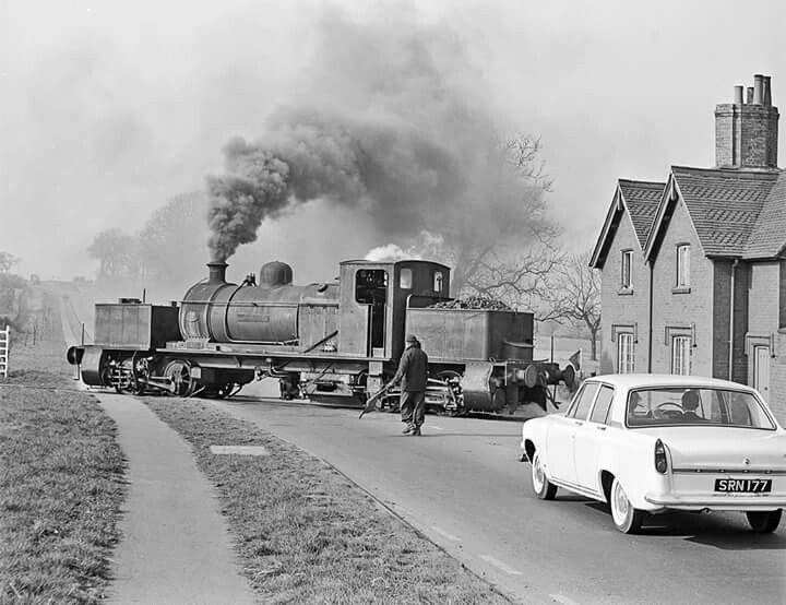 Colliery Beyer Garratt crosses the A5 while shunting