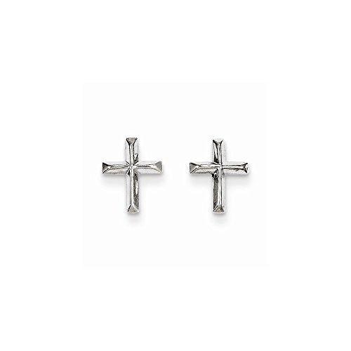 14k White Gold Madi K Cross Post Earrings, Best Quality Free Gift Box Satisfaction Guaranteed