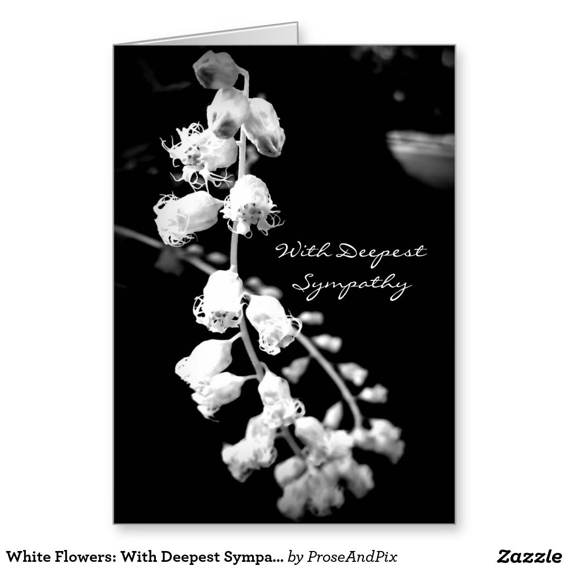 White Flowers With Deepest Sympathy Stationery Note Card