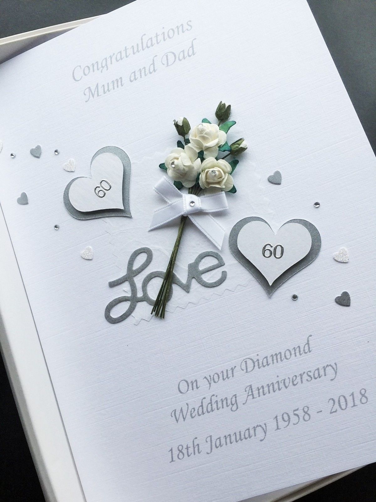 Details about 60th ANNIVERSARY CARD PERSONALISED DIAMOND
