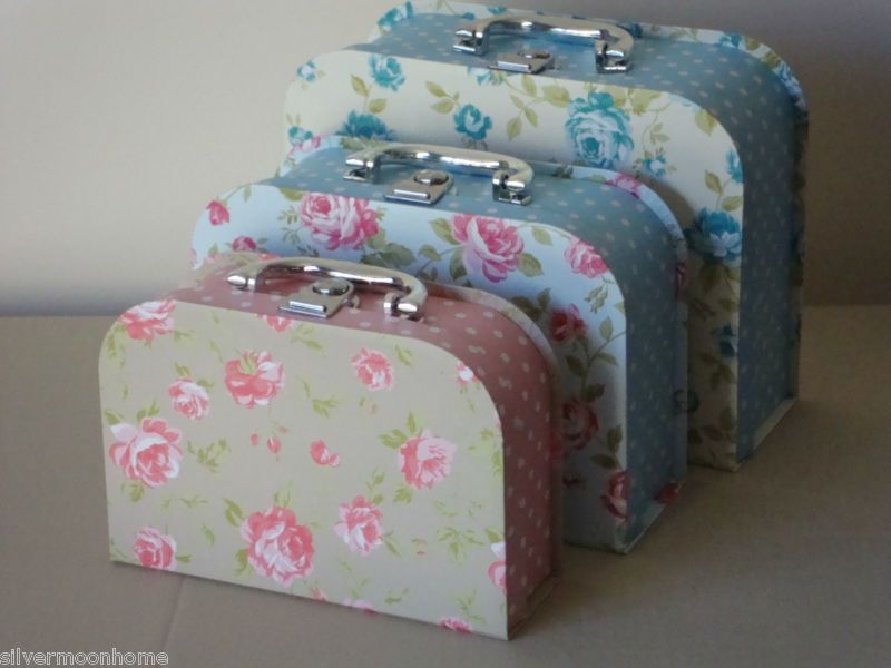 Set Of Three Suitcase Shaped Boxes, Decorative Storage Shabby Chic Style  Bedroom