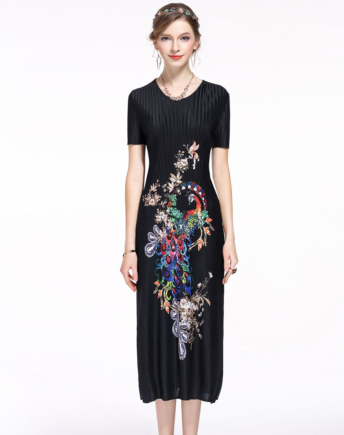 4cd4a5d665b5  AdoreWe  VIPme Sheath Dresses❤️Designer DAIPYA Black Chiffon Vintage  Folral Embroidery Slim Fit