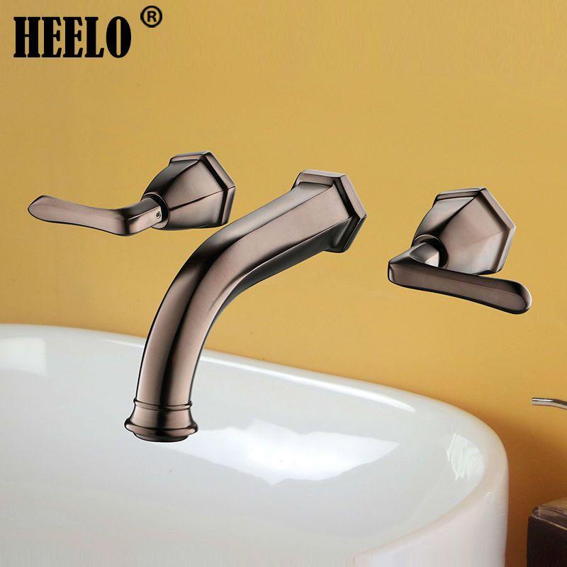 Two Handle Bathroom Faucets Wash Basin Faucet Vanity Mixer In Orb