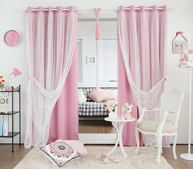 Light Pink Colour Bedroom Bedroom Design Sketchup Ideas To Paint Bedroom Walls Sheer Curtains Bedroom: Double Layer Curtains With Bridal Lace In LIGHT PINK