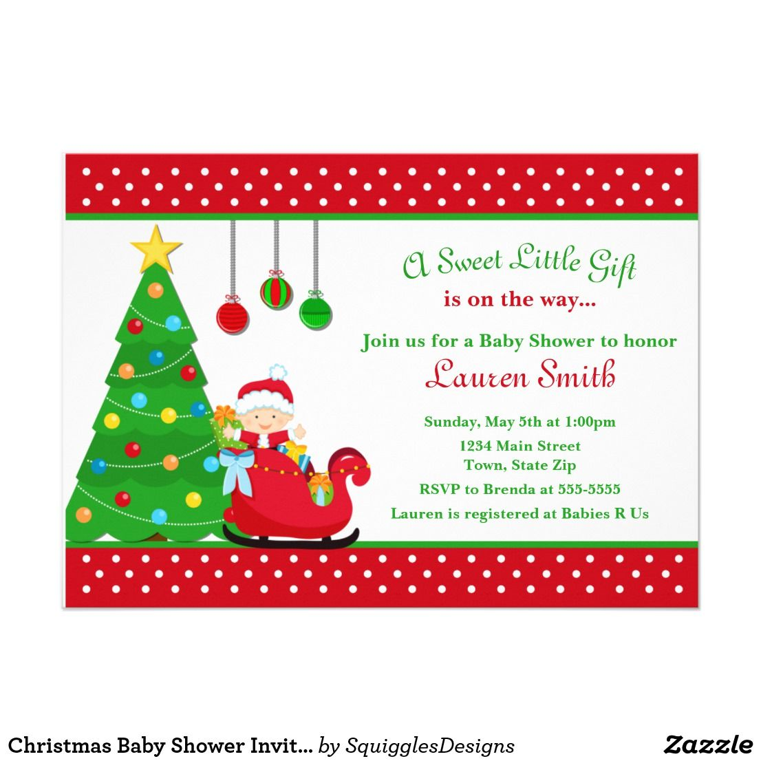 Baby Shower Invitation Boy Santa Claus