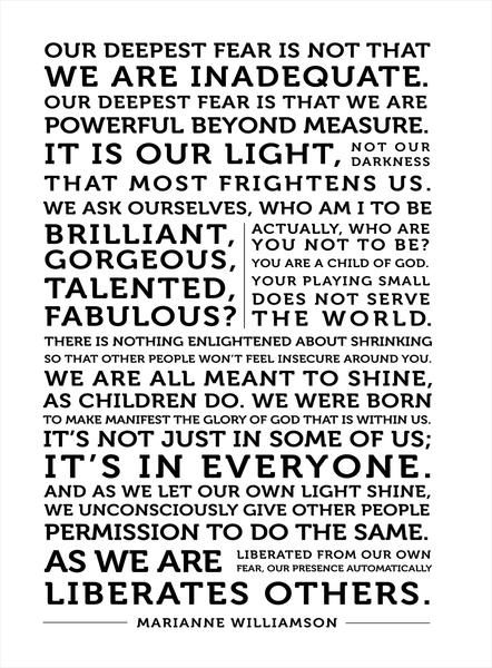 Our Deepest Fear  Marianne Williamson Quote on Canvas Inspirational Quote Canvas Wall Art - Canvas Graphic Design and Typography Print - Gallery-wrapped ...  sc 1 st  Pinterest & Our Deepest Fear | Quote canvas Marianne williamson and Typography ...