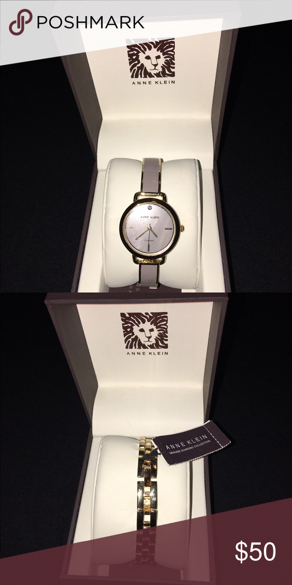 3e81d4d51b1 NWT, Anne Klein Watch, Genuine Diamond Collection NWT, Taupe and Gold Anne  Klein watch. Protective plastic still covers the face of the watch.