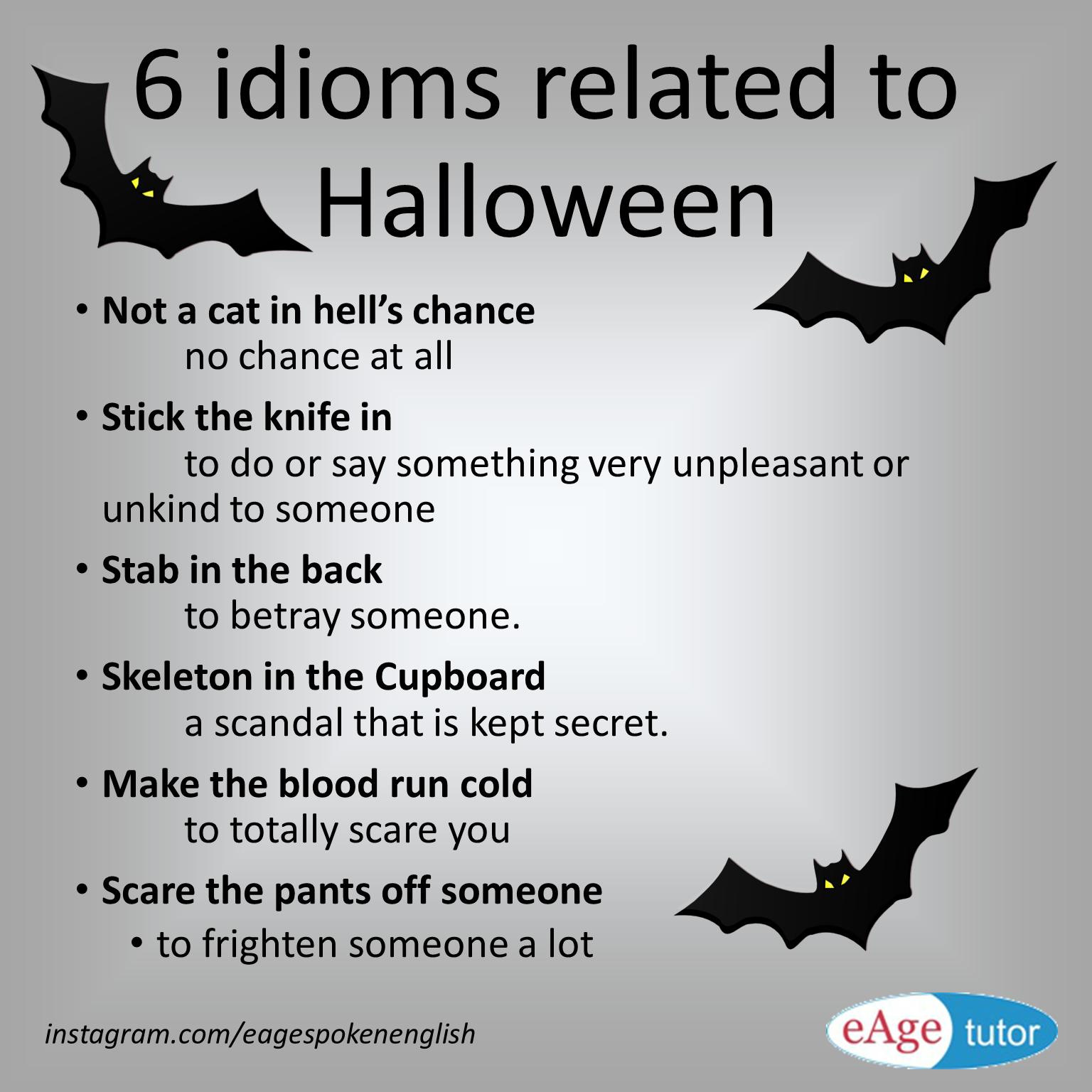 6 Idioms Related To Halloween Gramatica Inglesa Aprender Ingles Educacion