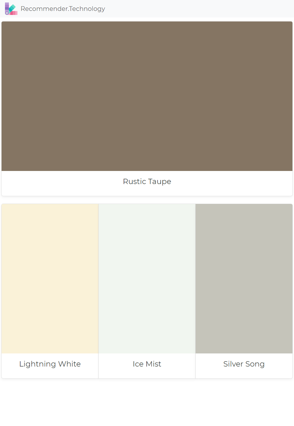 Taupe Paint Colors Living Room: Rustic Taupe: Lightning White, Ice Mist, Silver Song