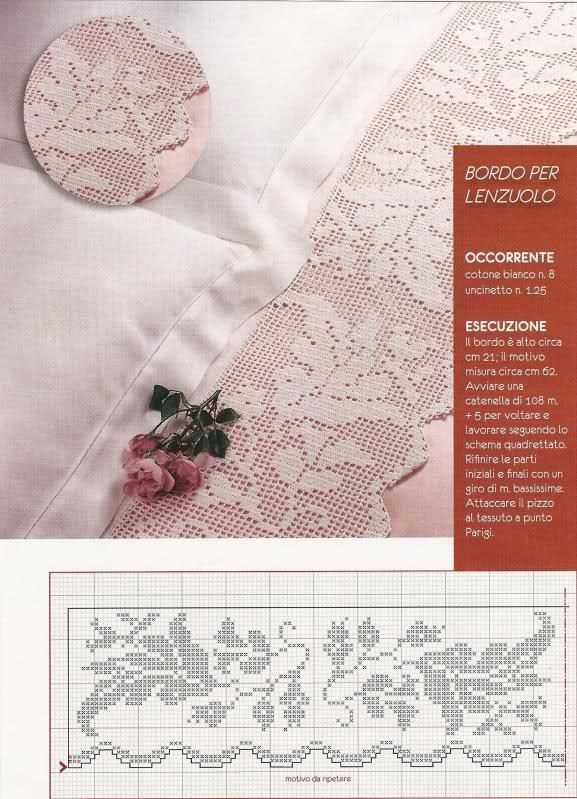 Schema uncinetto bordo per lenzuolo dantel thread for Bordure all uncinetto schemi