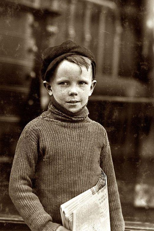 +~+~ Vintage Photograph ~+~+ Newspaper boy ~ Lewis Hine