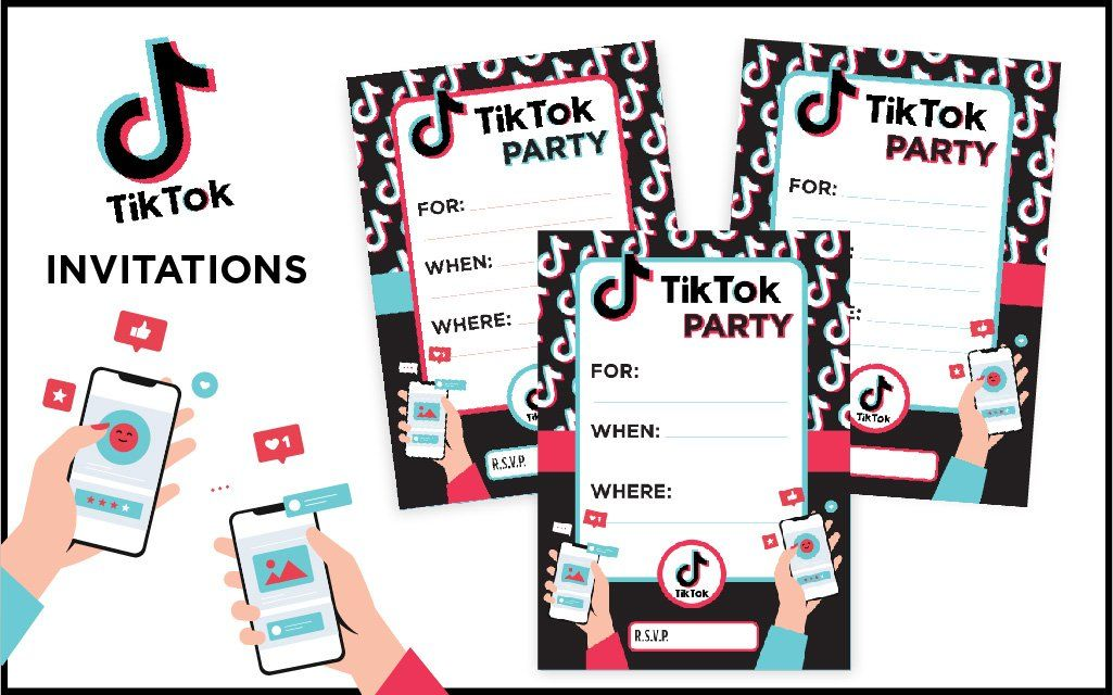 Tiktok Printable Birthday Party Invitation And Printable Printable Birthday Invitations Birthday Party Invitations Printable Personalized Happy Birthday Banner