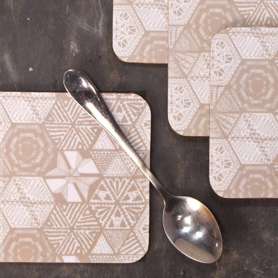 Hexie Doodle Coasters Taupe