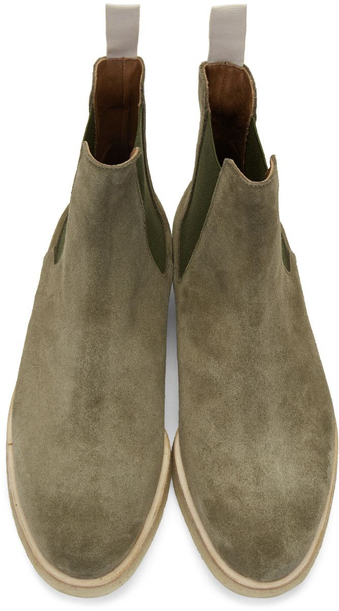 Green Suede Chelsea Boots