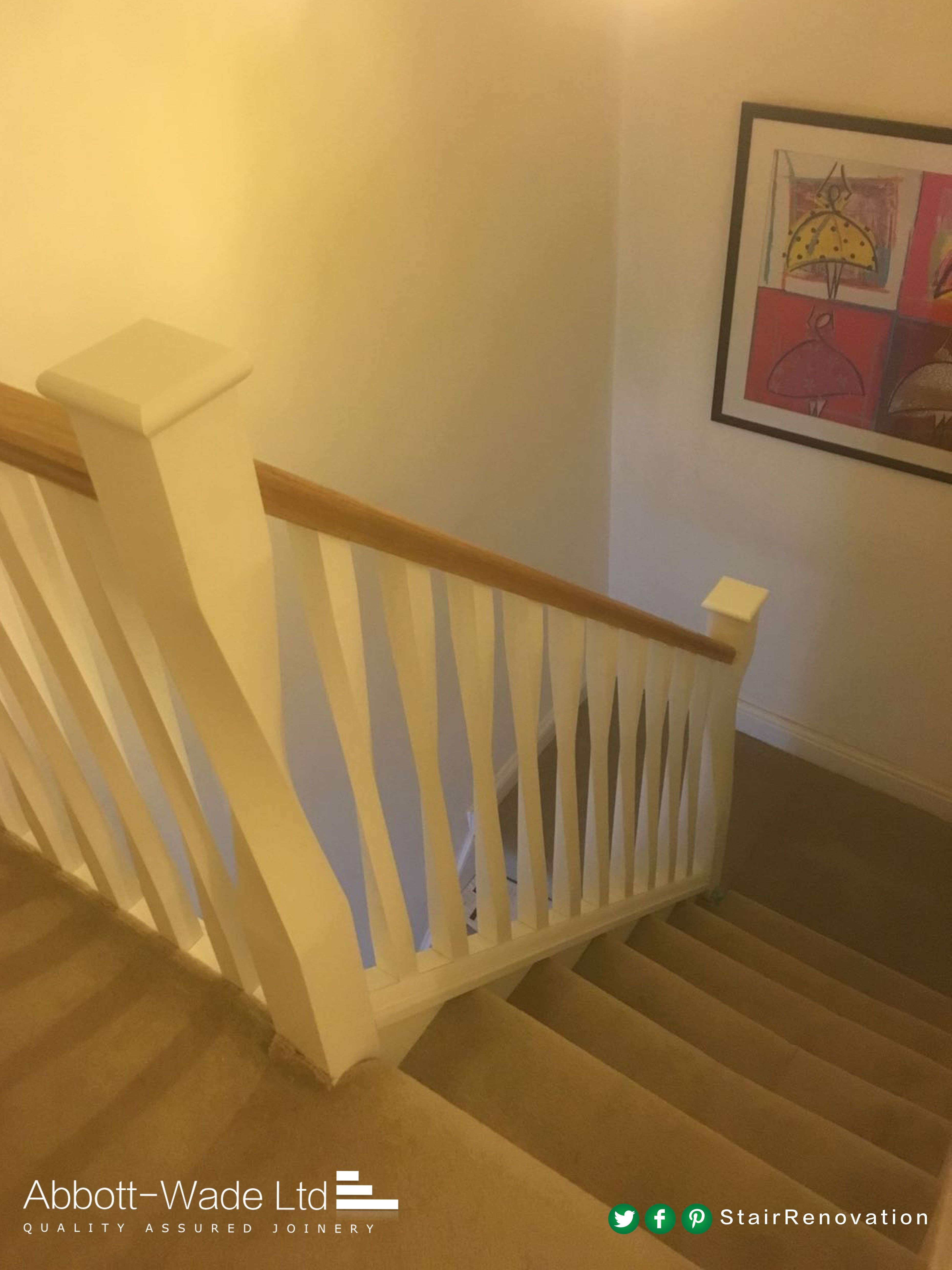 Best Oak Rails With Abbott Wade S White Twisted Newels 640 x 480