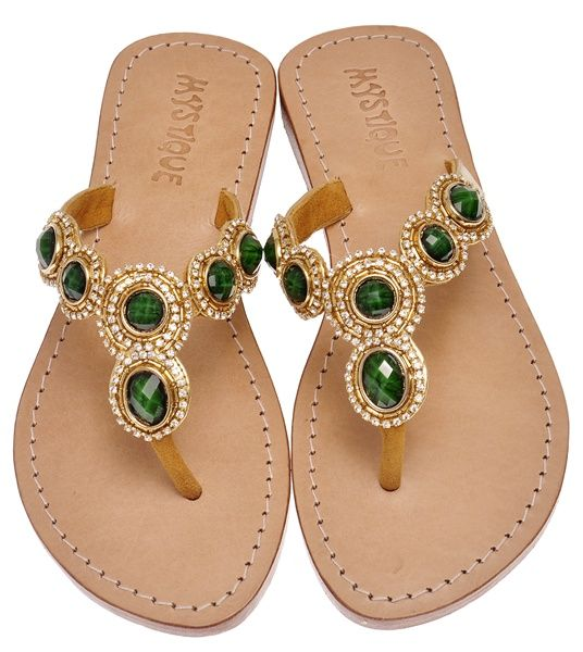 e73944a00968 Green and gold jeweled sandals.