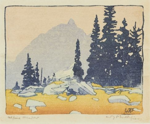 Lot #30 WALTER J. PHILLIPS Alpine Meadow colour woodcut signed and titled in the margin, unframed 3.25 x 4 ins ( 8.3 x 10.2 cms )  Closes September 25th at 02:00:00 PM CDT - See more at: http://www.consignor.ca/artwork/AW25868#sthash.cvtXDPn6.dpuf