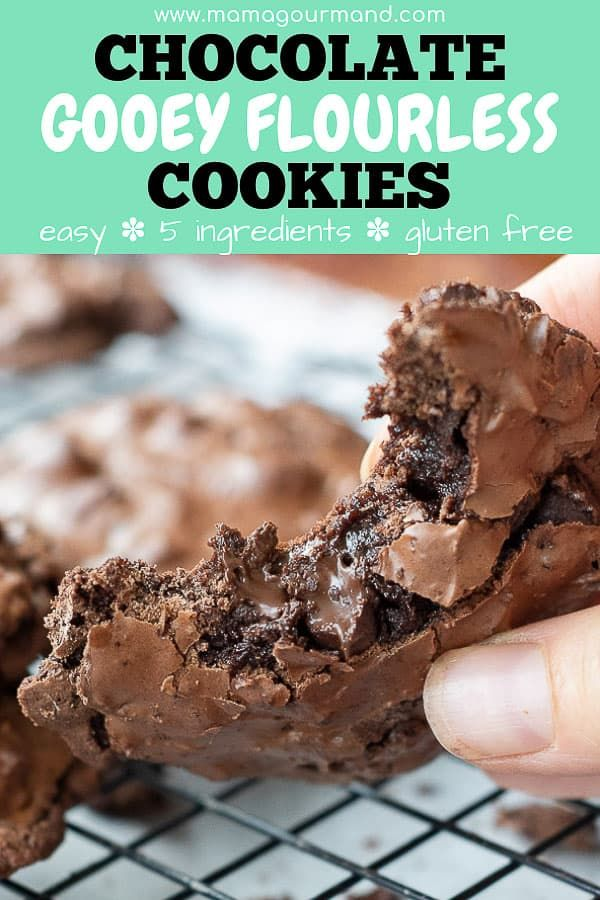 Chewy Fudgy Flourless Chocolate Cookies are a naturally gluten free chocolate cookie and only take five ingredients to make If you are looking for an extremely decadent c...