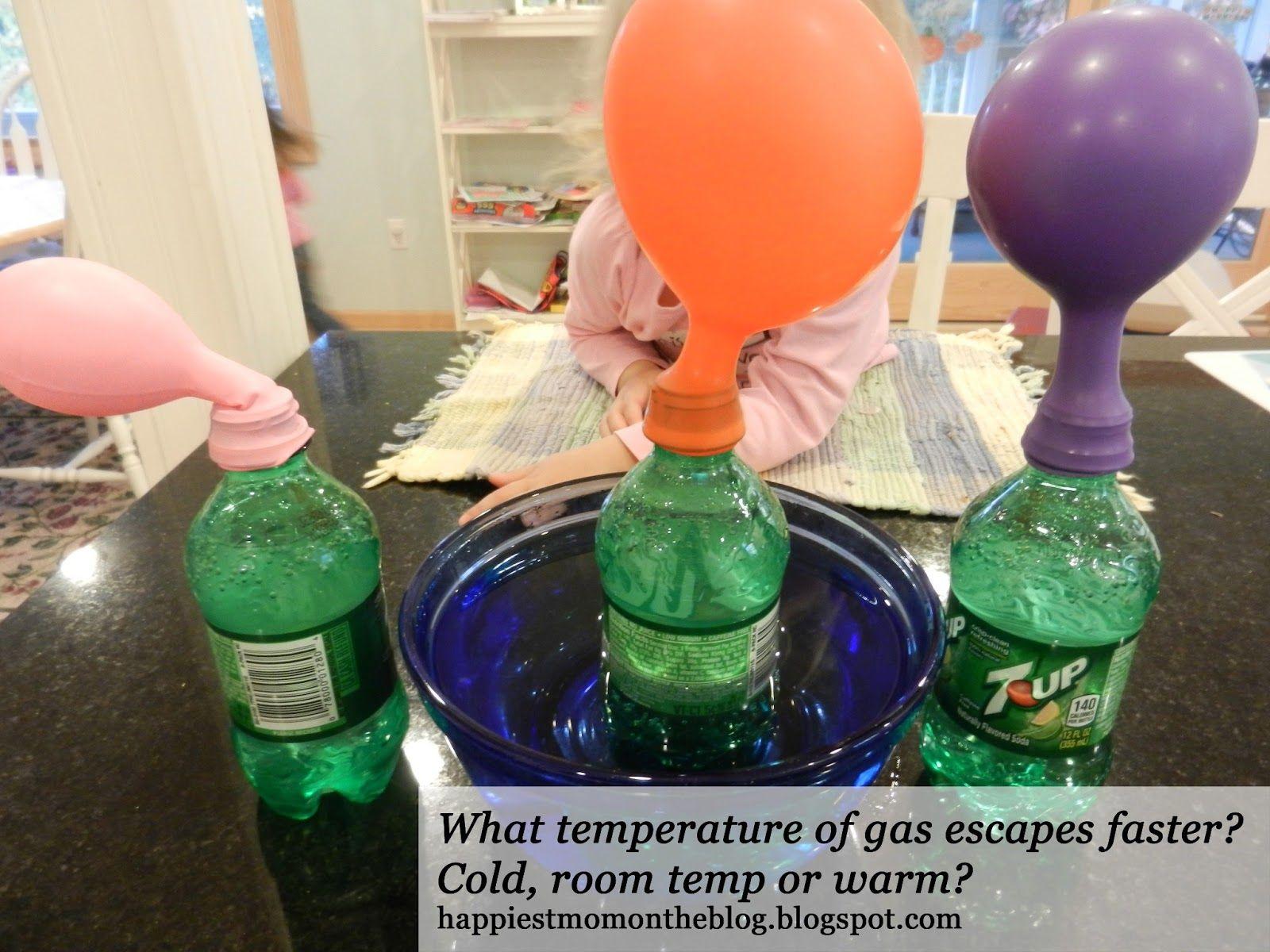 Preschool experiment: At what temperature does gas escape faster? cold, room or warm?  #preschool #experiment