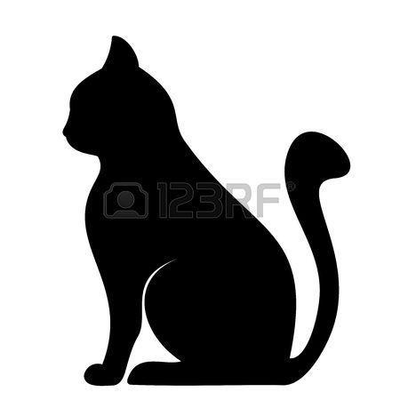Gatti Stilizzati Sagoma Del Gatto Nero Vettore Illustrazione