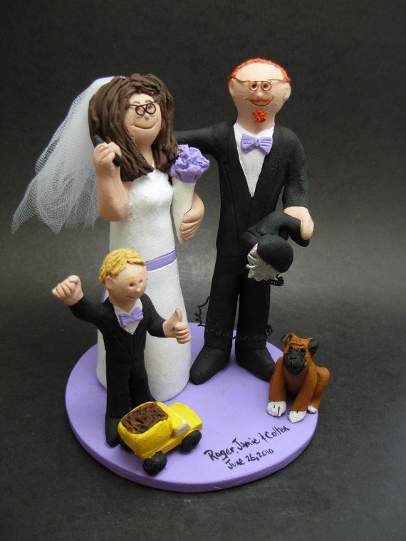Blended Family Wedding Cake Topper With Kids 2nd Marriage CakeTopper