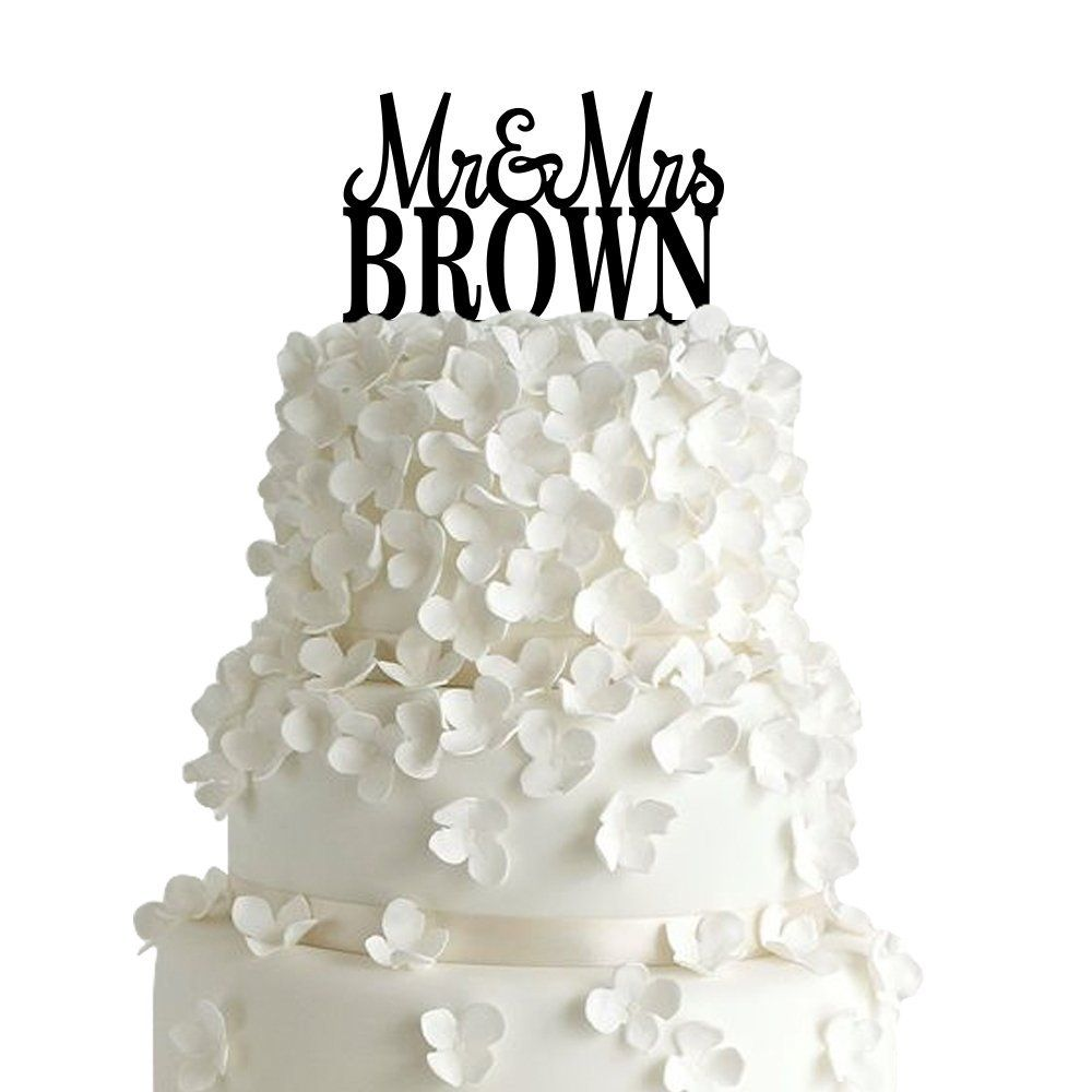 Sugar yeti custom personalized mr and mrs wedding cake topper with