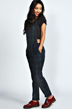 undefeated x detailed look cheapest price Violet Green Tartan Woven Dungarees at boohoo.com | Hipster ...