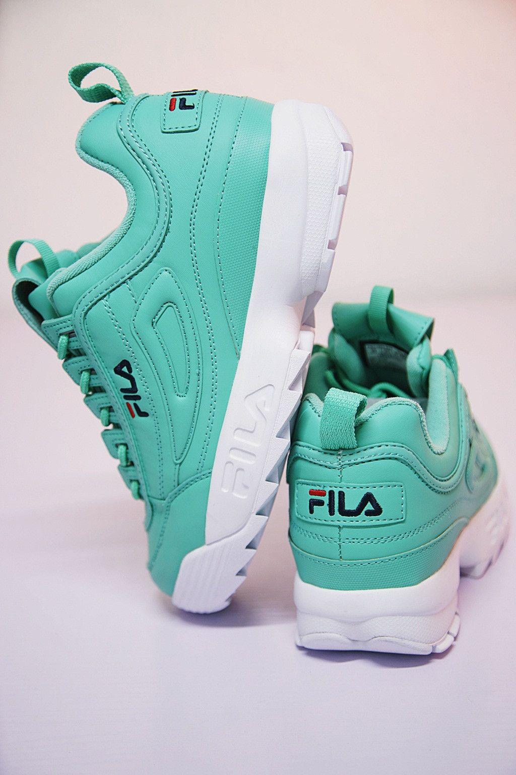 mint green fila shoes