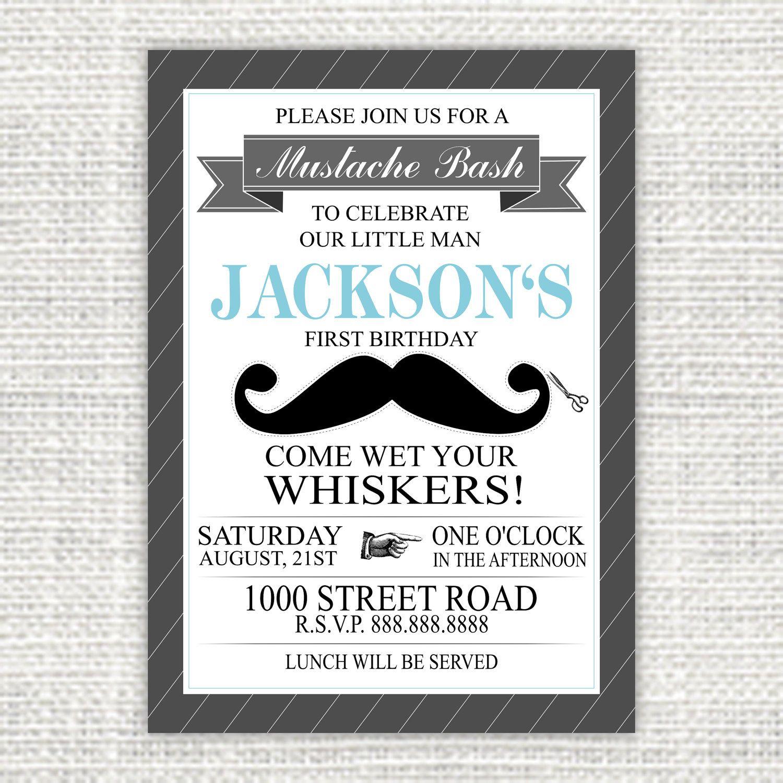 Printable Mustache Bash Birthday Invitation by HankandPetunia, $8.00 ...