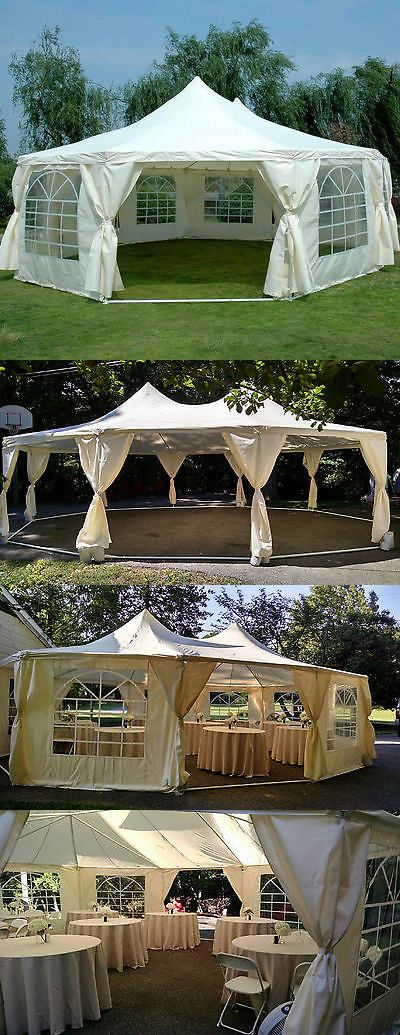 Marquees And Tents 180994 Peaktop 29 X21 Heavy Duty Decagonal Party Tent Gazebo Canopy Wedding