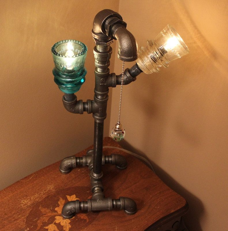 Industrial Style Pipe Lamp With Glass Insulators And Pull